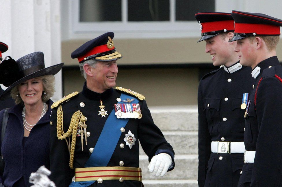 Prince of Wales and the Duchess of Cornwall with Prince William and Prince Harry
