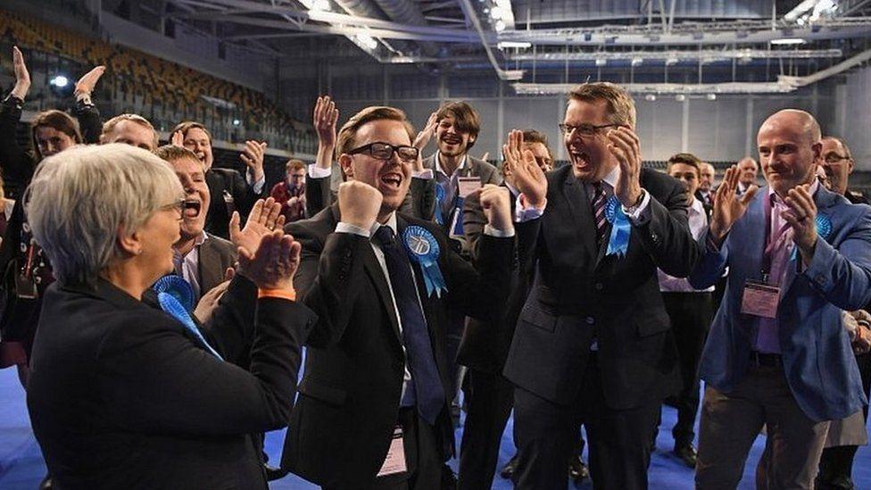 Conservative candidate for Shettelston Thomas Kerr celebrates winning a Glasgow Council
