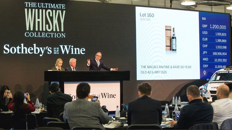 Sotheby's auction of the Macallan fine and rare whisky in London