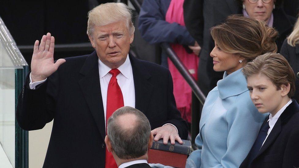 Donald Trump at his inauguration in Washington DC, 20 Jan 2017