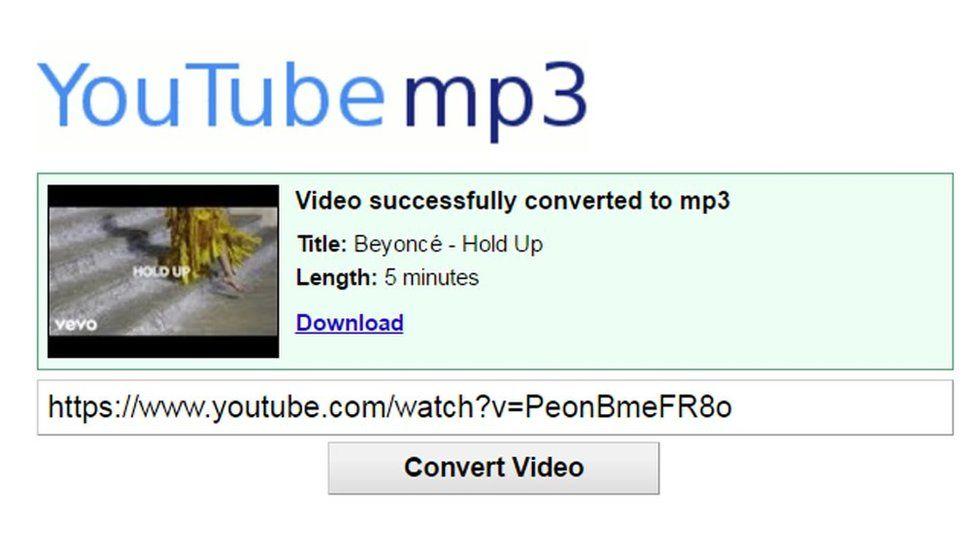 A screenshot of Youtube-mp3.org