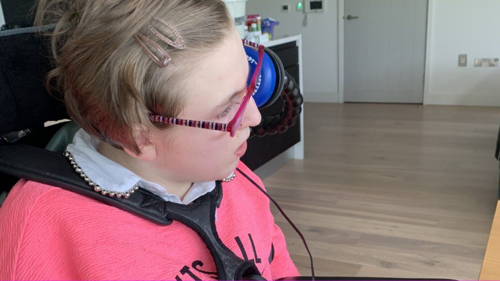 Meabh Bradley, who has cerebral palsy and is non-verbal, enjoys interacting with her friends on the internet