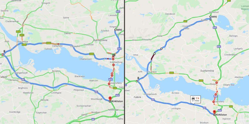 Diversion route map