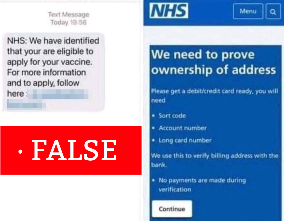 An example of the fake text message and the website where it leads its intended victims