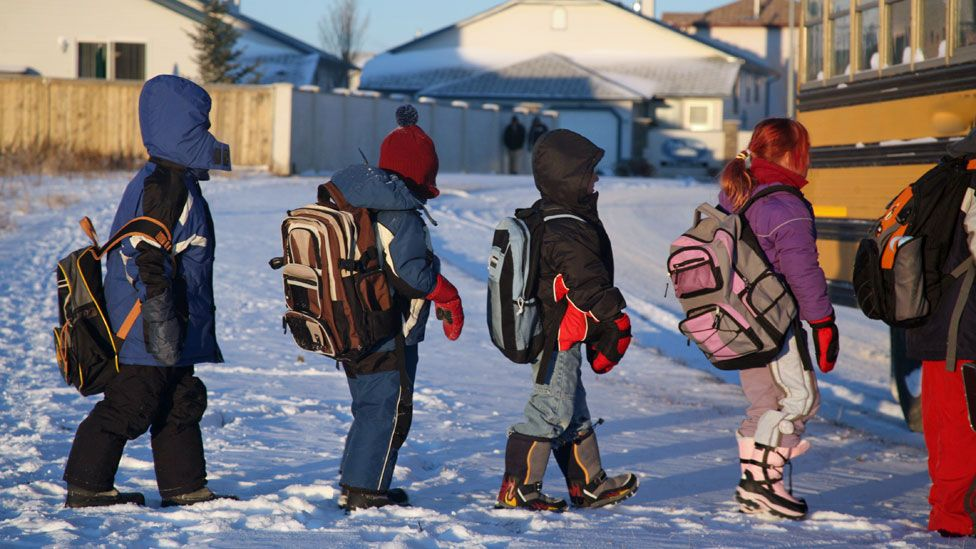 Going to school in the snow