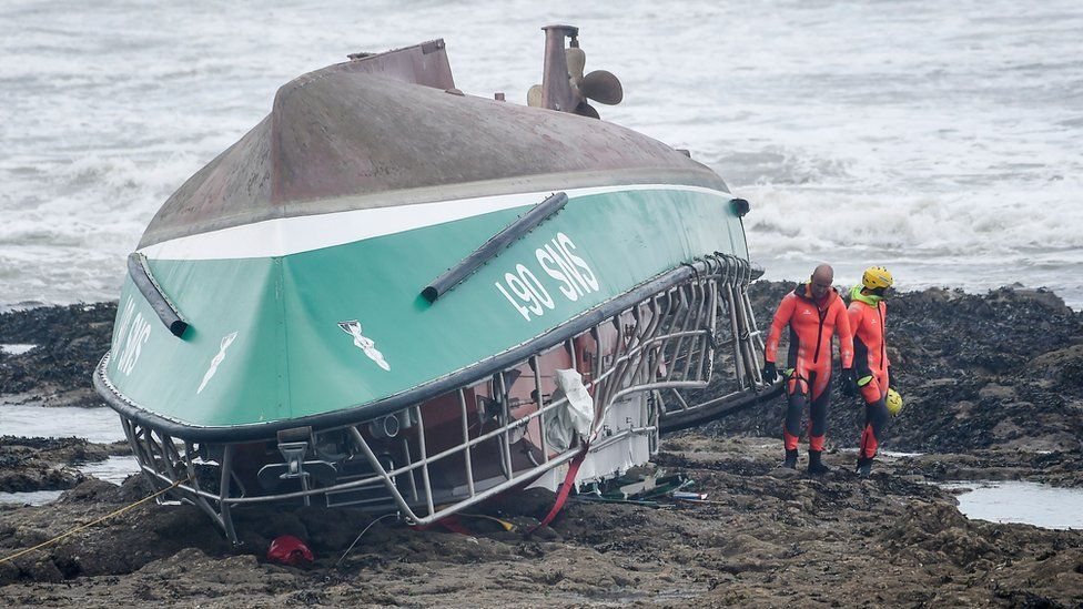 The National Society of Sea Rescue boat after it capsized