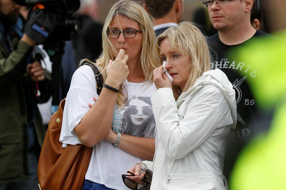 Onlookers react near the scene of an attack close to London Bridge in central London,