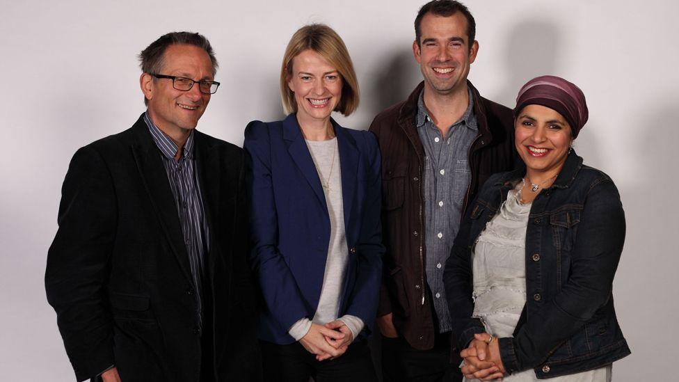 The presenters of Trust Me...: Michael Mosley, Gabriel Weston, Chris van Tulleken, Saleyha Ahsan