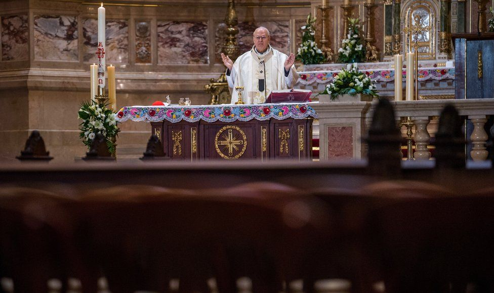 Cardinal Peter Erdoe holds Easter Sunday Mass in St Stephen's Basilica in Budapest, Hungary, 12 April 2020