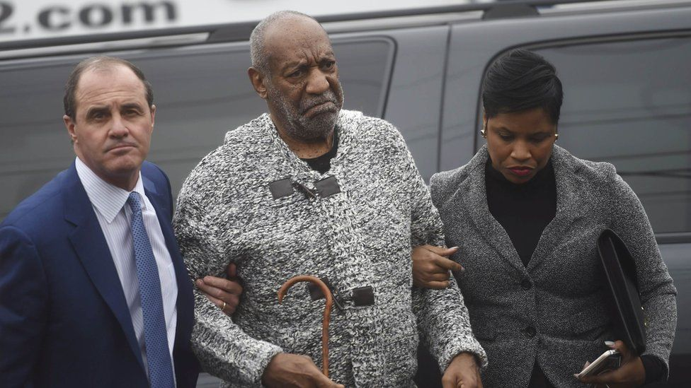 Actor and comedian Bill Cosby (C) arrives with attorney Monique Pressley (R) for his arraignment on sexual assault charges at the Montgomery County Courthouse