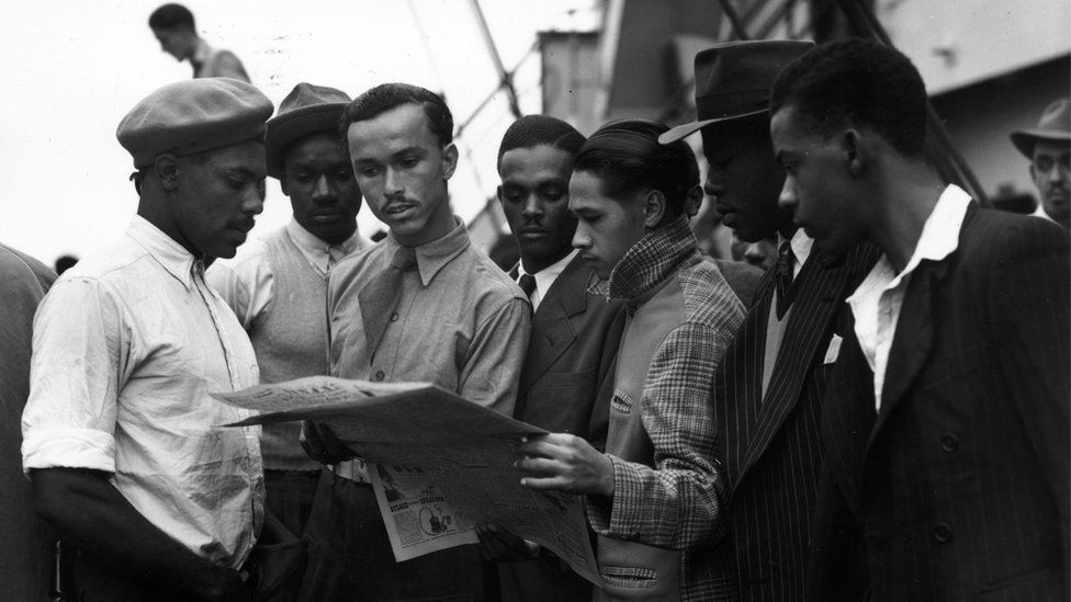 Some of the first migrants from Jamaica at Tilbury, London, on board the Empire Windrush; June 1948