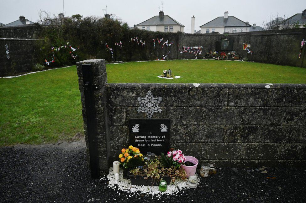 A memorial plaque at the Tuam graveyard where the bodies of 796 babies were uncovered