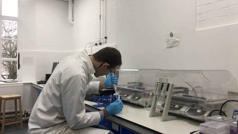 Dr Niek Buurma working in a chemistry lab