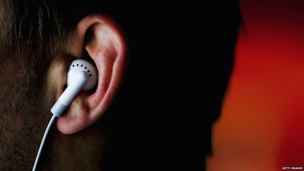 Earphone in an ear