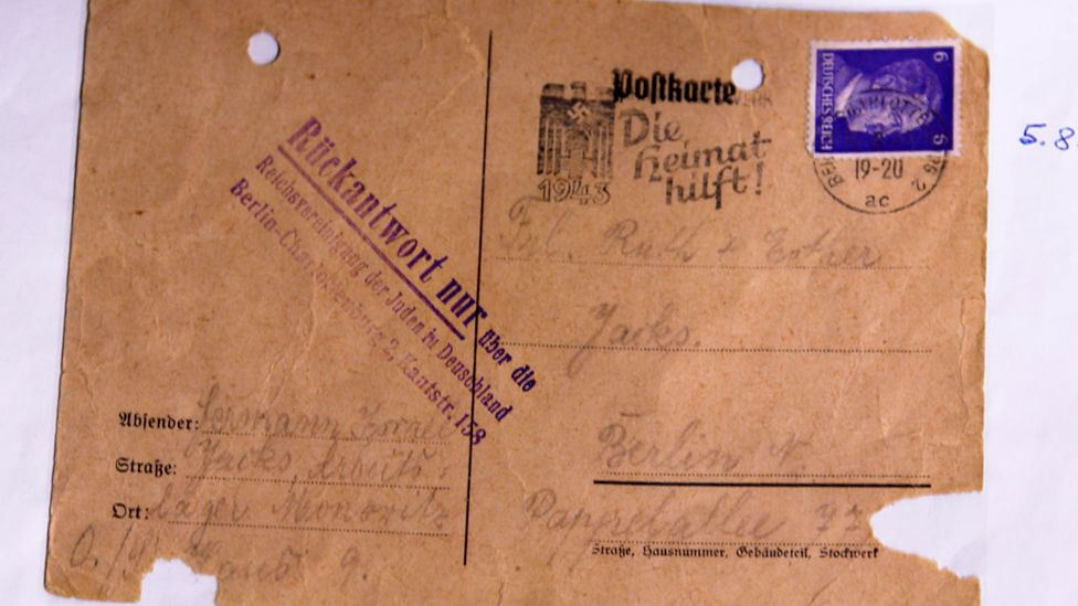 One of the postcards Ruth's father sent from Auschwitz