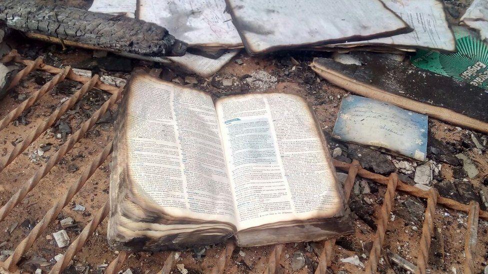 Burnt school book