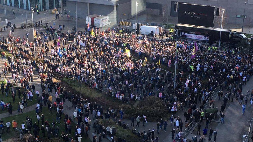 protestors at Tommy Robinson rally