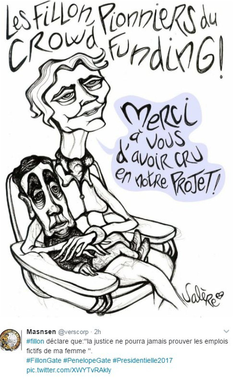 Drawing by artist Salere, which says the Fillons are pioneers of crowdfunding and has Penelope cradling Francois on her lap, saying 'Thanks for believing in us'