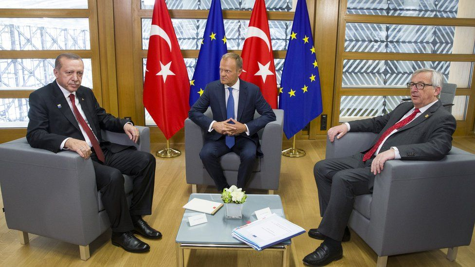 President Recep Tayyip Erdogan with Donald Tusk and Jean-Claude Juncker in May 2017