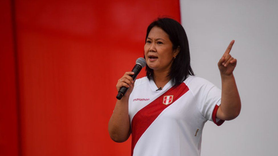 Keiko Fujimori, presidential candidate of the Popular Force party, speaks during a debate on 15 May