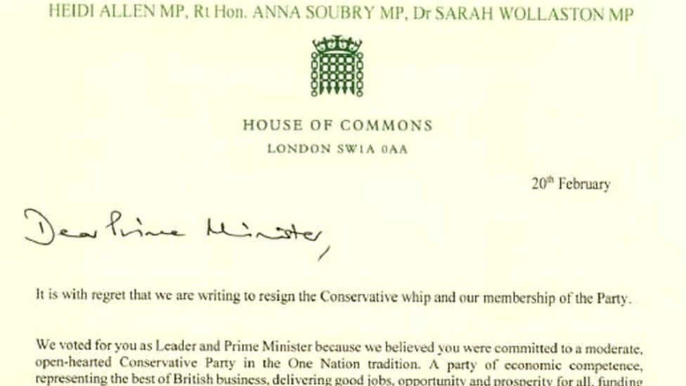 In full: Tory MPs\' resignation letter - BBC News