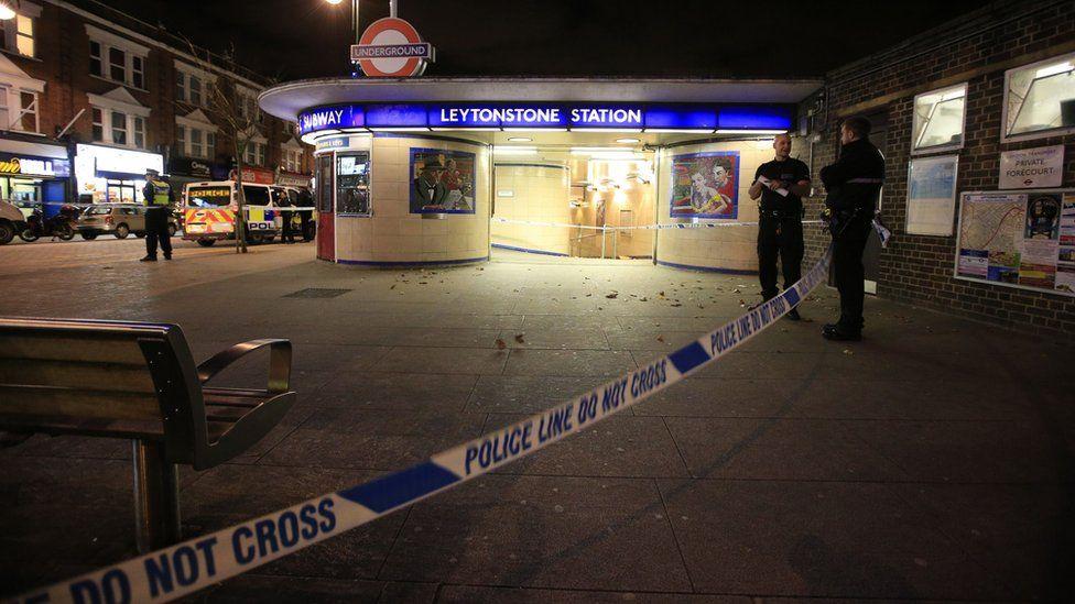 Police cordon outside Leytonstone Station