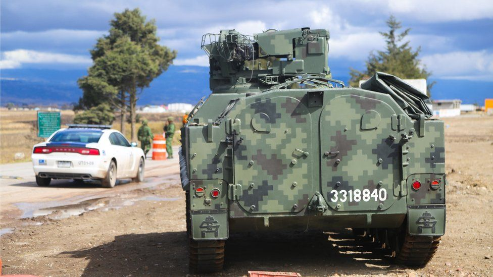 An armoured vehicle outside El Altiplano prison in Mexico - 14 January 2016