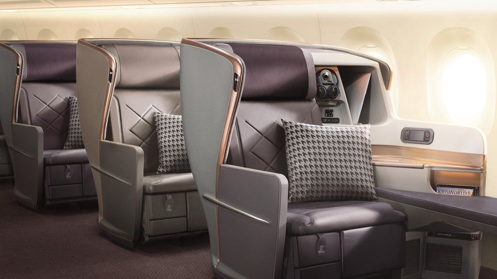 A business class seat on Singapore Airline's new A350-900 ULR - the flight will not offer any economy seating