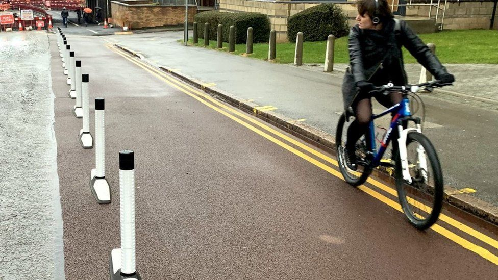 Orca wands on cycle lane