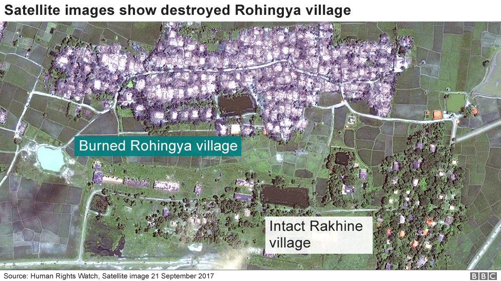 Satellite images shows Rohingya village destroyed by fire