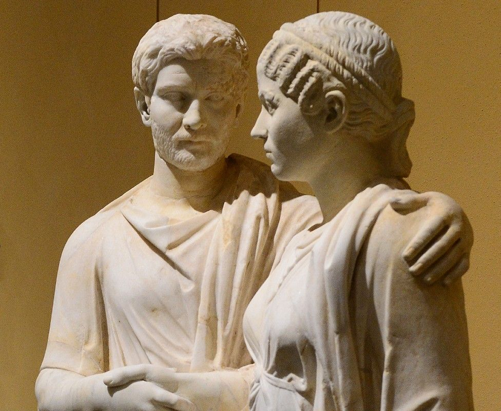 Statue of man and woman in the Torlonia Collection