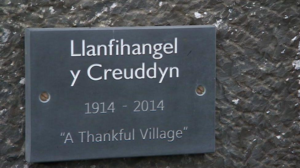 Sign of Llanfihangel y Creuddyn