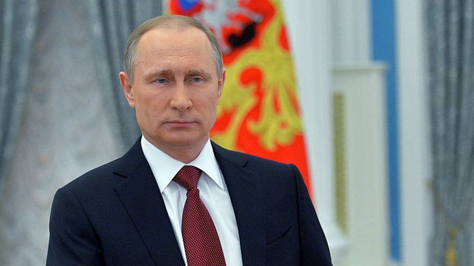 Russian President Vladimir Putin delivers a message dedicated to Russian women on International Women's Day