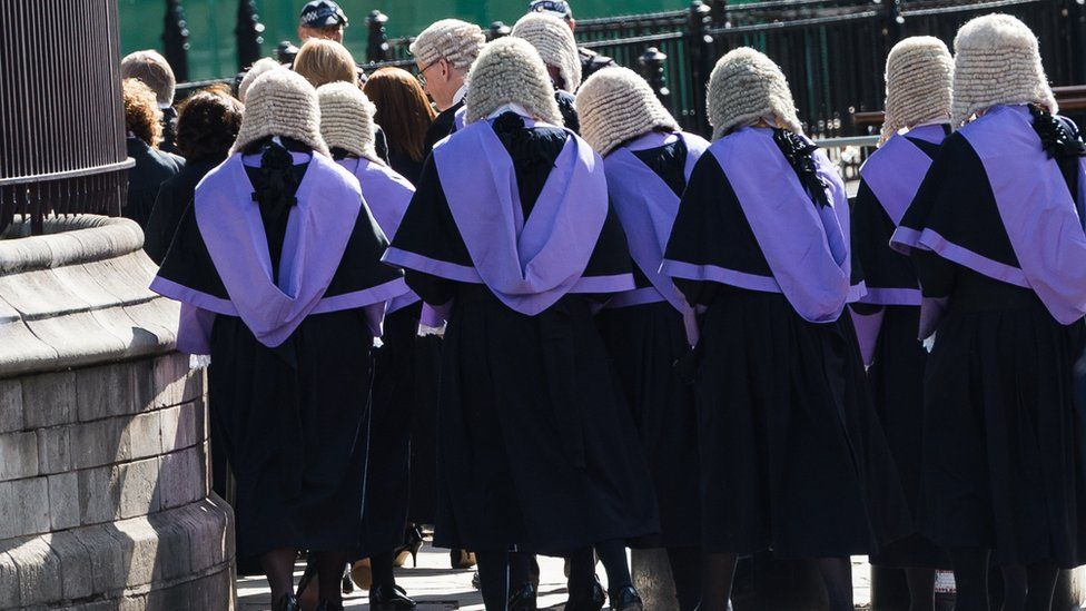 Judges, QCs and senior legal figures walk in ceremonial procession to the Houses of Parliament after attending the annual Judges Service at Westminster Abbey held to mark the beginning of the new legal year in October 2018