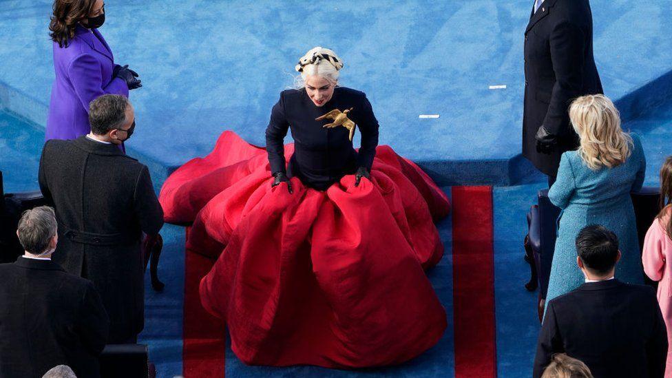 Lady Gaga walks away during the 59th presidential inauguration