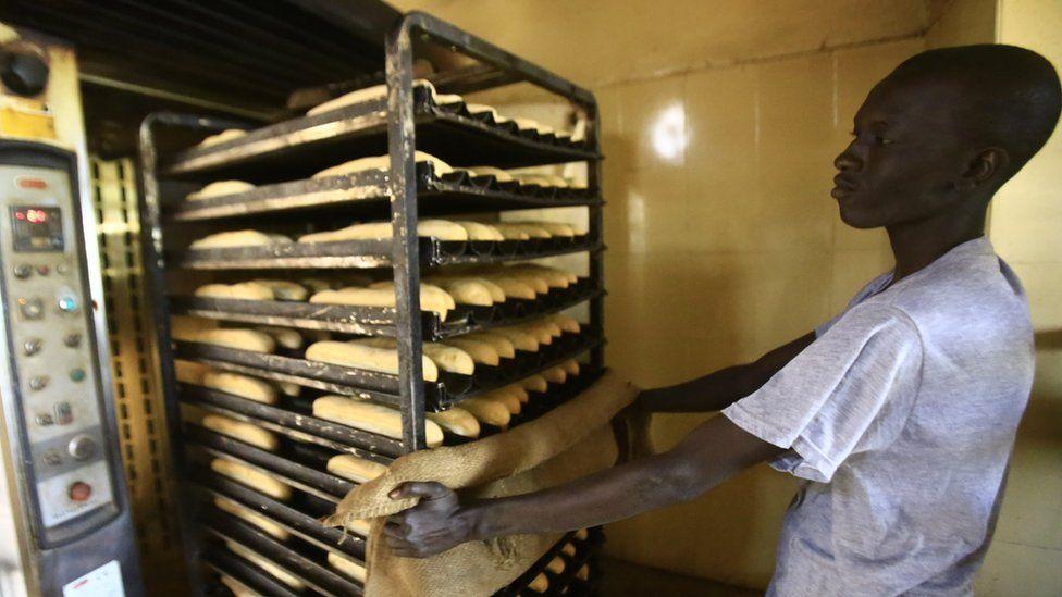 A Sudanese man at a bakery in Khartoum