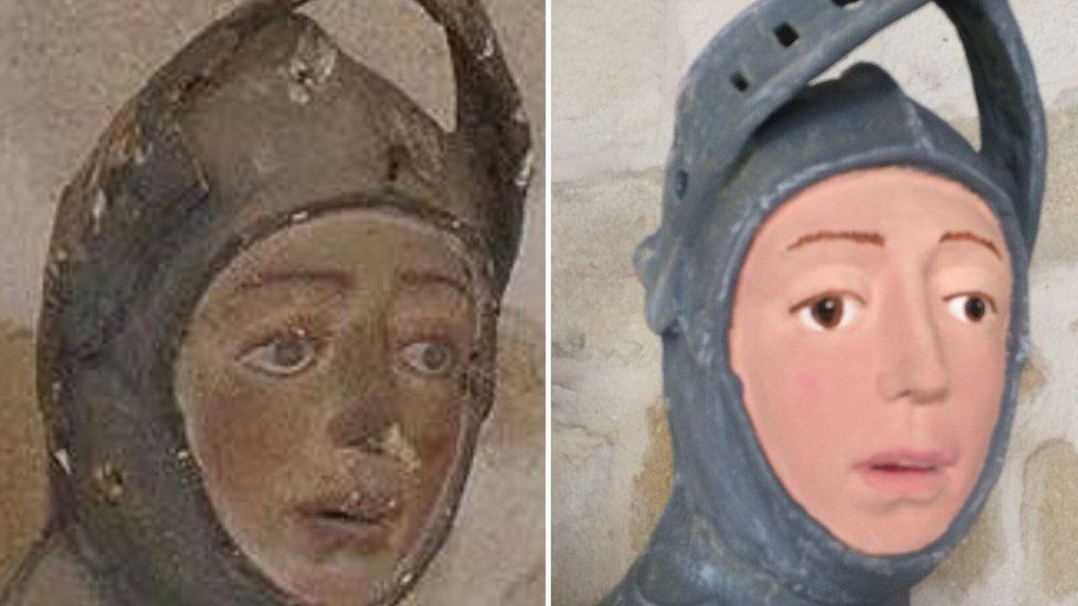 The St George sculpture before and after restoration