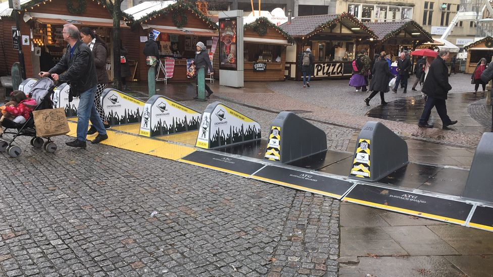 Barriers at Sheffield Christmas market