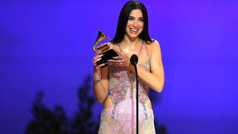 Dua Lipa accepts the Best Pop Vocal Album during the 63rd Annual Grammy Awards.