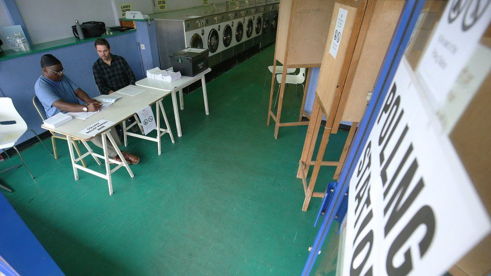 Launderette polling station in Oxfordshire