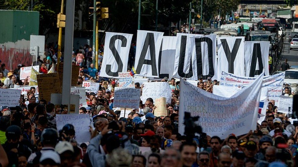 Health care workers march in Caracas Feb 2017
