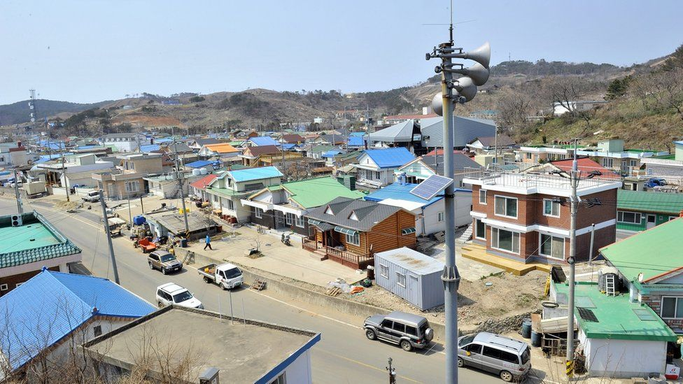 A loudspeaker is seen over South Korea-controlled Yeonpyeong (2013)