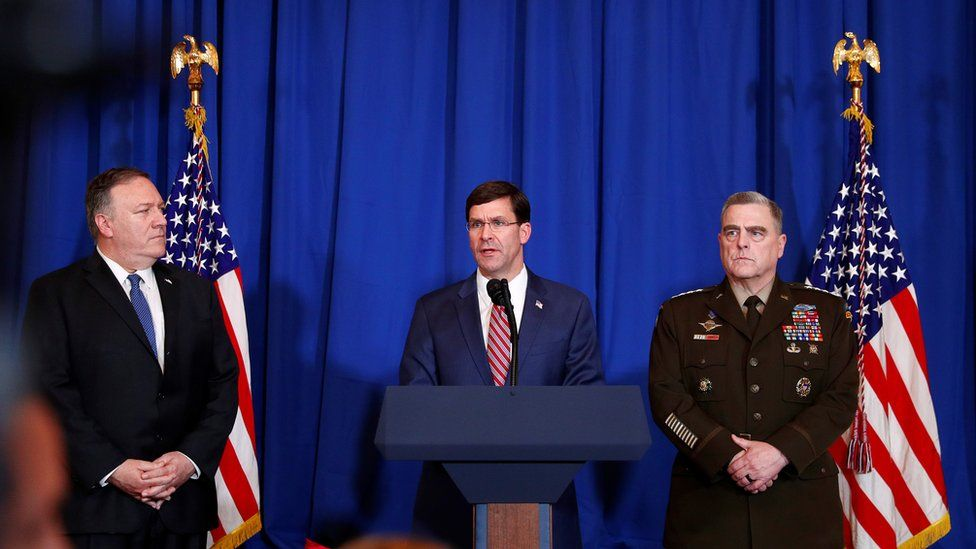 US Defence Secretary Mark Esper (centre) speaks about the US air strikes on an Iran-backed Iraqi militia at a news conference in Florida (29 December 2019)