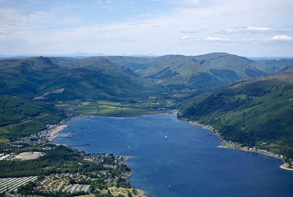 Sandbank and Holy Loch, Western Scotland with the Argyll forest and Trossachs behind