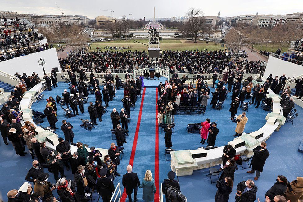 President-elect Joe Biden and his wife Jill Biden arrive for his inauguration as the 46th President of the United States on the West Front of the U.S. Capitol in Washington, U.S., January 20, 2021.
