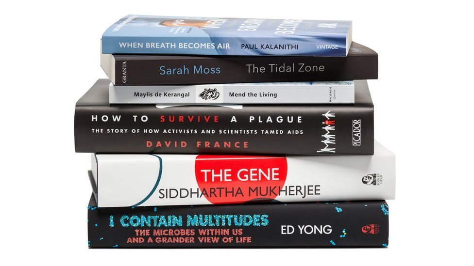 The spines of the 2017 Wellcome Book Prize shortlist