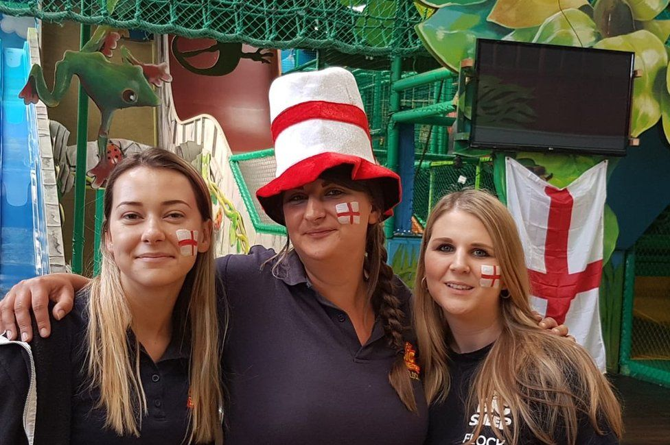 Staff at the Big Sheep family attraction in Devon in England colours