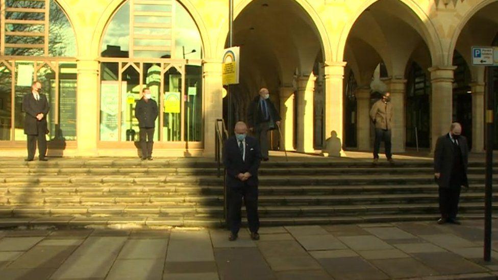 Northampton Borough Council leader Jonathan Nunn and mourners for Brian Binley at the Guildhall