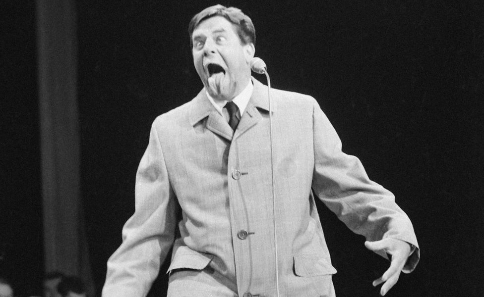 American comic Jerry Lewis on stage at the Royal Variety Show. - 1966