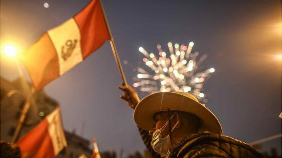 Followers of Pedro Castillo celebrate in Lima, Peru, 15 June 2021